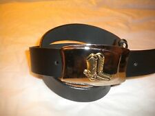 NEW MEN  METAL COWBOY WESTERN  BELT BUCKLE WITH BOOTS SNAP LEATHER BELT L-38-40