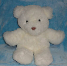 "Plush White Musical Teddy Bear Wind Up Acotex 1986 17"" Wish You Merry Christmas"