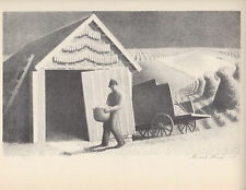 "GRANT WOOD 1939 WPA Book Print ""SEEDTIME & HARVEST"" Landscape Artwork Sketch"