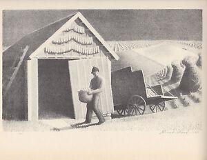 """GRANT WOOD 1939 WPA Book Print """"SEEDTIME & HARVEST"""" Landscape Artwork Sketch"""