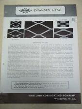 Vtg Wheeling Corrugating Co Brochure~Steelcrete Expanded Metal~Catalog~1946