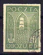 POLOGNE Oflag Camp de Gross Born Fischer timbre n° 11 oblitéré
