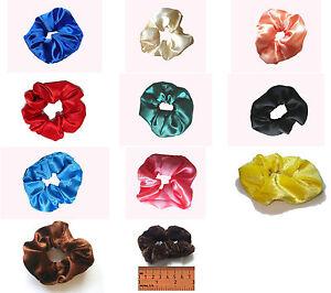 Fabric & Satin Scrunchie Handmade Hair Elastic-Band Loop Tie- Colour Choice