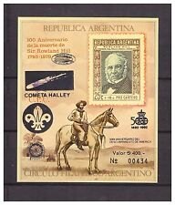 s14392) Argentina 1990 MNH** R. Hill S/S  Scout - Halley C. - Rotary -...