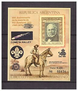 s14392) Argentina 1990 MNH R. Hill S/s Scout - Halley C Rotary