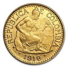 1919-1930 Colombia Gold 5 Pesos AU (Random) - SKU #28464