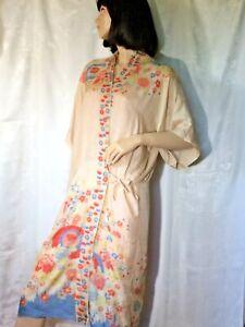 Vintage silk pongee Robe kimono 20s Art Deco midi L parasol floral Japan flapper