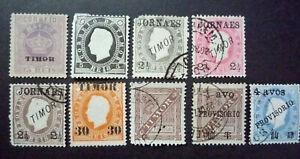 TIMOR 1885-95 Lot 9 valeurs