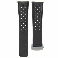 LEATHER WATCH STRAP BAND 19MM FOR TAG HEUER CARRERA TWIN TIME CV2113-0 BLACK