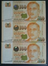 Singapore $100 Portrait Tharman First Prefix 3pcs Run 2AA 838031~33 UNC