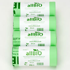 8l 100 Bags allBIO 100 Compostable Food Waste Kitchen Caddy / Bin Liners