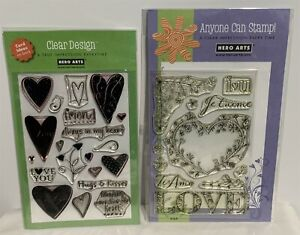 Hero Arts VALENTINES DAY Hearts Love Clear Rubber Stamps Lot of 2