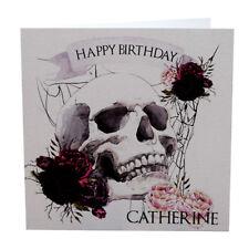 Personalised SKULL AND ROSES Birthday Card - Biker Tattoo Rocker Goth Punk