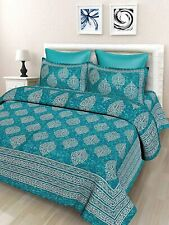 144 TC Cotton Double Bedsheet with 2 Pillow Covers - Sea Green