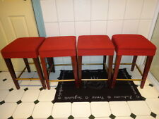 Set of 4 Bar Stools Red, With Brass Foot Rests
