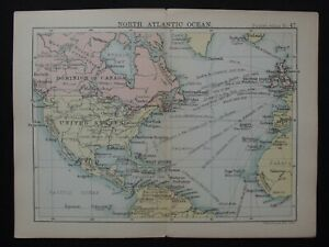 Antique Map: North Atlantic Ocean by John Bartholomew, Pocket Atlas, 1890