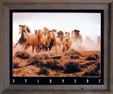 Western Wild Horse Running in Herd Animal Wall Décor Barnwood Framed Picture