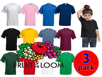 3 Pack Kids Fruit of the Loom Plain 100% Cotton  Tee Shirt Tshirt T-Shirt