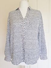 DALIA WOMENS 100% COTTON BUTTON-DOWN SHIRT TOP L SLEEVES CAN BE WORN UP OR DOWN