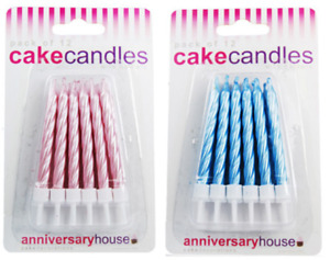 Pearlescent Cake Candles 12pk Happy Birthday Boy Girl Baby Shower Party Idea