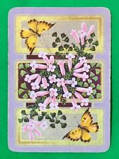 Playing Cards 1 Swap Card - Old Antique Wide ROYAL EDITH FLOWERS + BUTTERFLIES 1