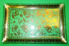 "Georges Briard snack tray 22k Gold Persian Garden 6.5 x 4"" Vintage Glass Dish"