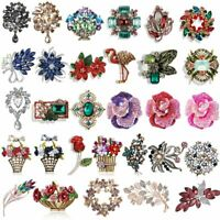 Retro Full Crystal Flower Bouquet Brooch Pin Women Wedding Party Jewelry Gifts