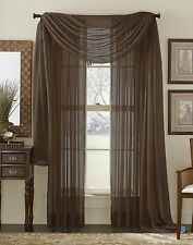 3 PCS Coffee Brown Voile Sheer and Scarf Combo Set Window Drape/Panel/Treatment