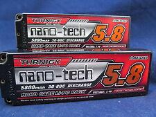 New 2 Turnigy nano-tech 5800mAh 2S 7.4 30C 60C Battery Lipo Pack Hardcase ROAR