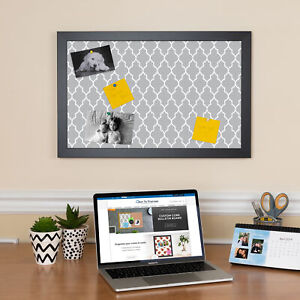 ArtToFrames Custom Cork Bulletin Board Quatrefoil Framed in Satin Black