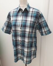EWM Ladies Size M 12 14 Blue White Check Shirt Top Summer Wear Pure Classics