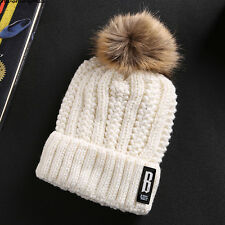Fashion Women Lady Faux Fur Ball Winter Warm Hat Crochet Knitted Beanie Cap US