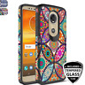 For Motorola Moto G6 Play/Forge/E5 Rubber Patterned Case+Black Tempered Glass