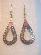 Cloisonne Long Pierced Earring Open Center Tear Drop Milty color Design colorful