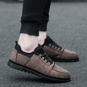 Mens Faux Leather Round Toe Sneakers Retro Low Top Non-Slip Sports Hiking Shoes