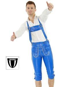 Bockle® BAVARIA GAY Bayrische Lederhose Trachten Kniebund Wiesn echt Leder blau