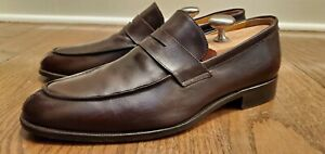 SAKS  FIFTH  AVENUE TAFT BROWN LEATHER PENNY LOAFERS MADE IN ITALY SIZE 9M
