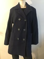 Alfred Dunner Wool trench peacoat Jacket Coat button front black 12 12p Petite M