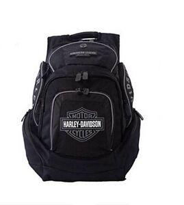 Harley-Davidson® Black & Gray Bar & Shield Deluxe Backpack Bag BP1900S