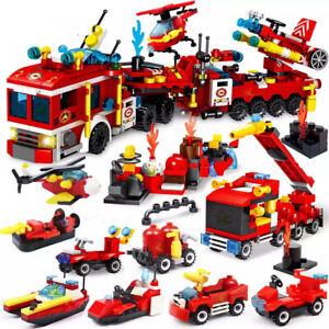 670 PCS Fire Frighting Trucks Blocks Kids Building Construction Toy For Children