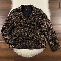 Nina McLemore Women's Size 12 Black Copper Animal Print Blazer Jacket