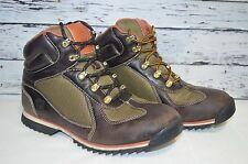 Mens Timberland Hiking Boots Brown Leather Green Mesh Lace Up Size 6 EUR 39