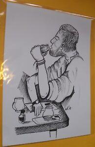 Original Ink illustration 'Whiskey Drinker' by Michelle Ranson
