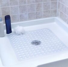 Square Non Slip Bath / Shower Mat, PVC, Bubble Effect Anti Slip, Clear 43X43 cm