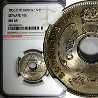 British West Africa Edward VIII 1936 H 1/2 Penny NGC MS65  KM# 15