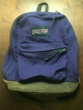 NICE! Jansport Leather Bottom Purple Backpack VTG 90s Made in USA UW Dawgs