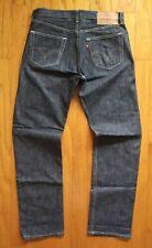 Levi Strauss 501 Indigo Blue Jeans Mens Size 34 x 34 Button Fly Stiff Denim