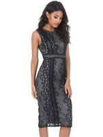 AX Paris Black Lace Overlay Fitted Bodycon Pencil Dress