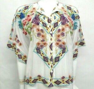 $275 NWT Johnny Was Embroidered Tuscany Blouse - S / M  - JW94801021