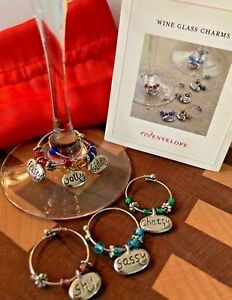 Red Envelope 6 Wine Glass Stemware Charms/ Markers Fun Personality Traits Themed